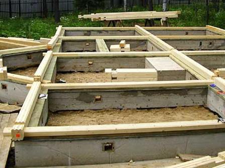 Ленточный фундамент под древесный дом